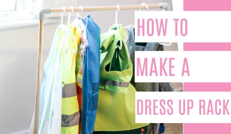 996c7f6a2 DIY dress up rack. Perfect for kids who love dressing up. You could also