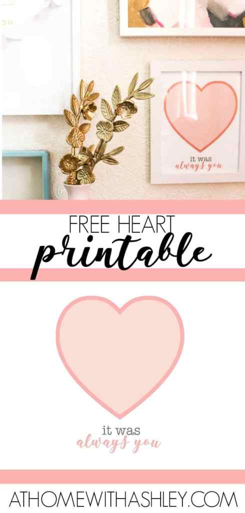 Free Valentine's decor printable with a heart in the 8x10 size. Its cute and pink- the perfect art for the season of love. Plus some DIY decorating ideas for home that are easy and affordable to make