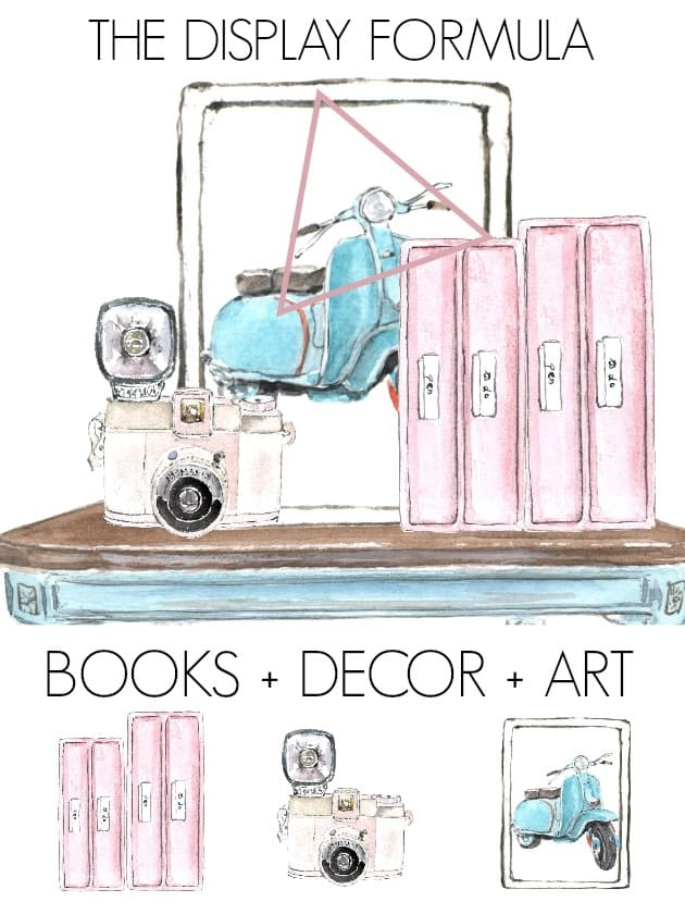 how to style a bookcase (or bookshelves) with books. These tips on how to decorate are perfect for living rooms or an office. Bookshelf decorating can be tricky, but I share some design formulas to make it easy including a video tutorial! Click through for display ideas for home shelving.