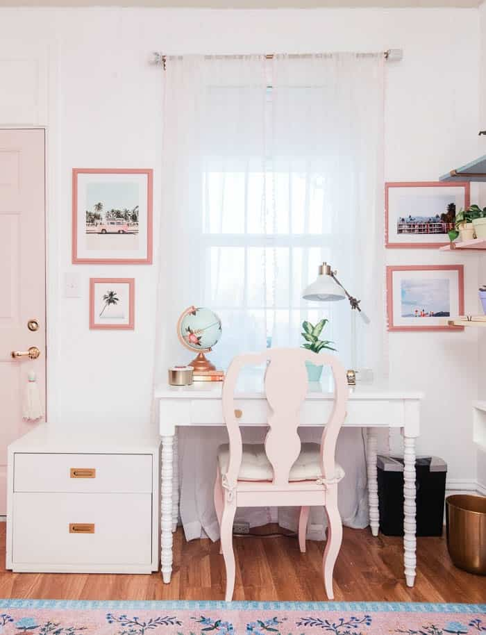 Welcome to my home office! It is blush pink with a modern chic vibe with floral wallpaper. Come see the organization, inspiration, and design. I work from home with my husband so we have two desks. I hope this space gives you ideas for decoration for your own home office!