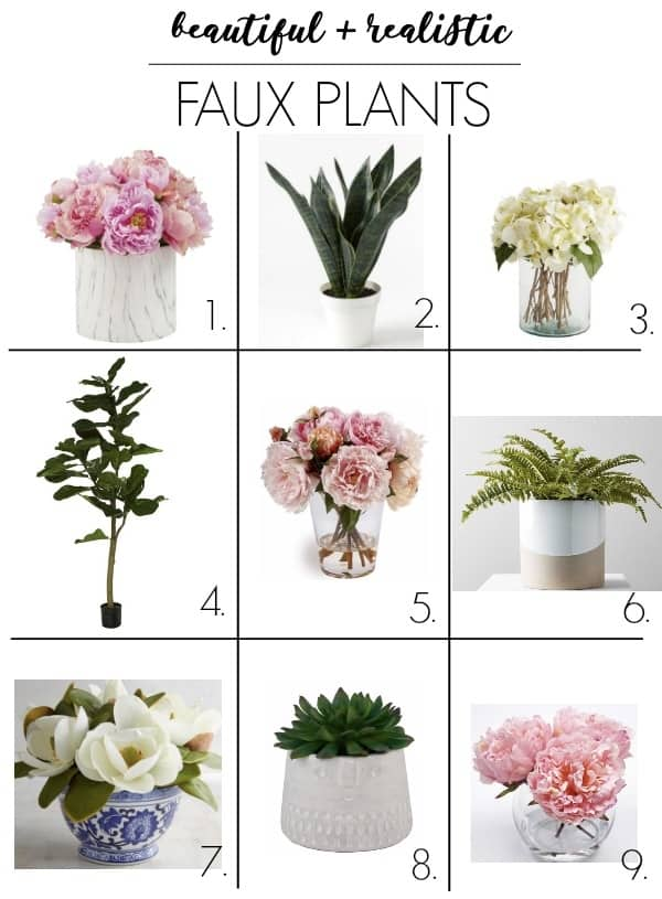 faux plants vs real plants. Fake plants have gotten so good! But you need to choose realistic looking ones for your decor! I'm sharing my favorites that are perfect for a living room, bedroom, bathroom, or kitchen. If you have little light, no time, and want no maintenance, these are for you! #fauxplants