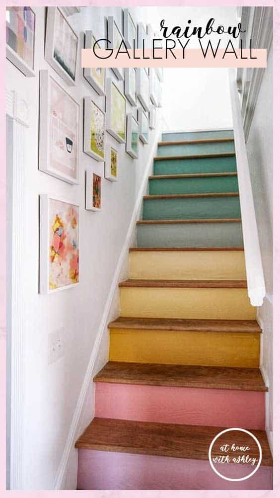 DIY stairs rainbow gallery wall. Want some simple tips on how to hang a modern gallery wall up your staircase in your home? I have ideas on how to hang pictures for the perfect layout and display. Plus pretty pictures of this rainbow gallery wall!