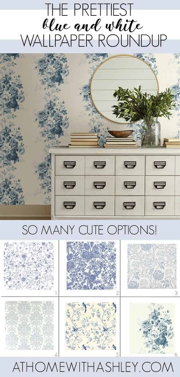 The prettiest blue and white wallpapers! I've rounded up my 12 favorites for you. And #7 totally has my heart! Blue and white wallpaper is such a timeless look! Since it's French Country, it can go anywhere in your home. From the bedroom, the bathroom, to even the kitchen or dining room. #blueandwhite #blueandwhitewallpaper