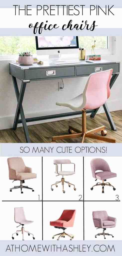 A cute pink desk chair is the happiest way to spruce up your office. I rounded up the prettiest pink office chairs to give you inspiration for your space! I love the pink velvet look of #7. There are lots of gorgeous color choices like blush, hot pink, light pink and more! #pinkdeskchairs #pinkofficechairs #pinkvelvetofficechairs