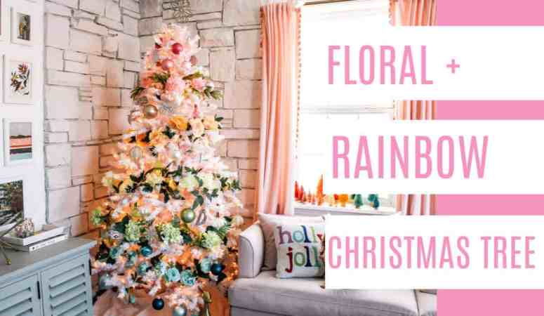 Floral and Rainbow Christmas Tree