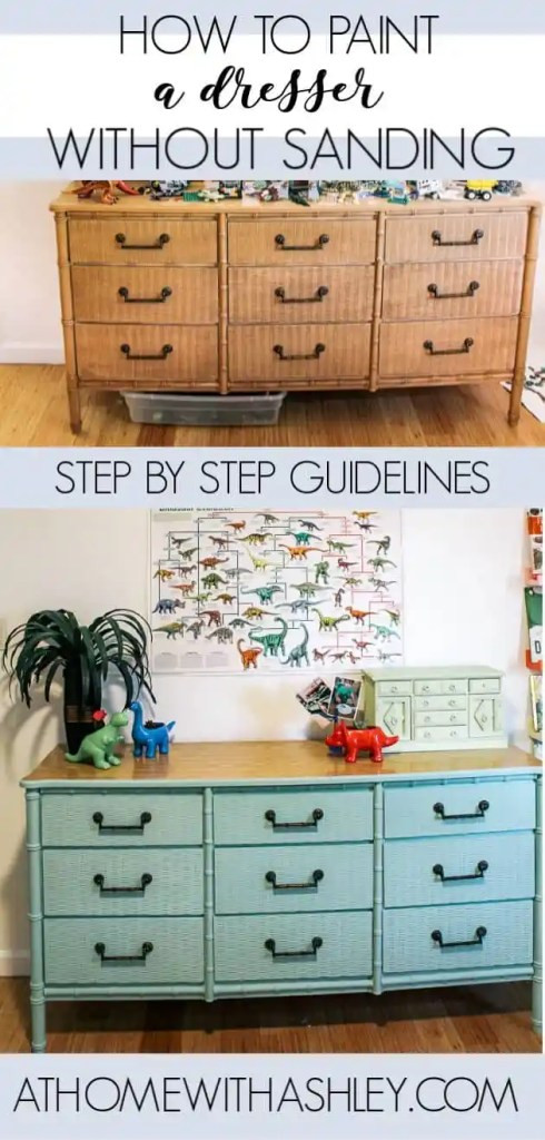 how to paint a dresser without sanding. A step by step diy tutorial on laminate furniture. I used blue chalk paint on this vintage banboo piece and ideas for how you can do the same! Click through to see the video with tips. Plus I answer how long it takes to paint and if I painted the back