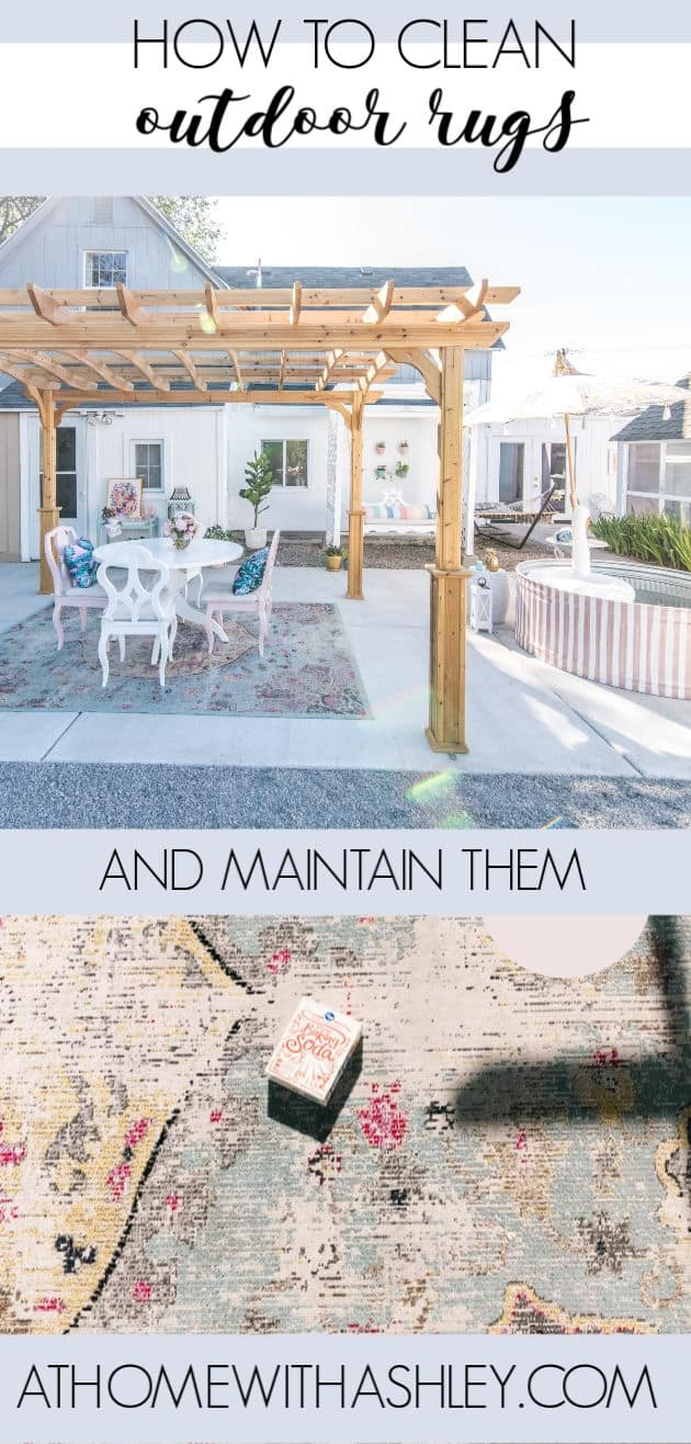 how to clean an outdoor rug thats on a patio. I share the best way to get rid of mildew and algae on rugs so it looks great all season. This is easy to do and is quick- perfect for a polypropylene or polyester outdoor mat especially if you have a pressure washer. Plus how to store your rug in the winter