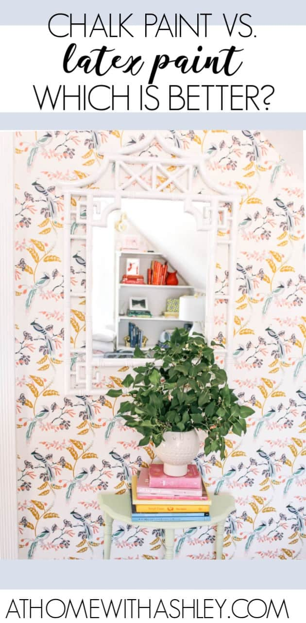 chalk paint vs. latex paint or regular paint. What is the difference? What is the best for furniture or kitchen cabinets. Pros and cons plus tips so you know which one is right for your project. Plus ideas for a chalk paint makeover