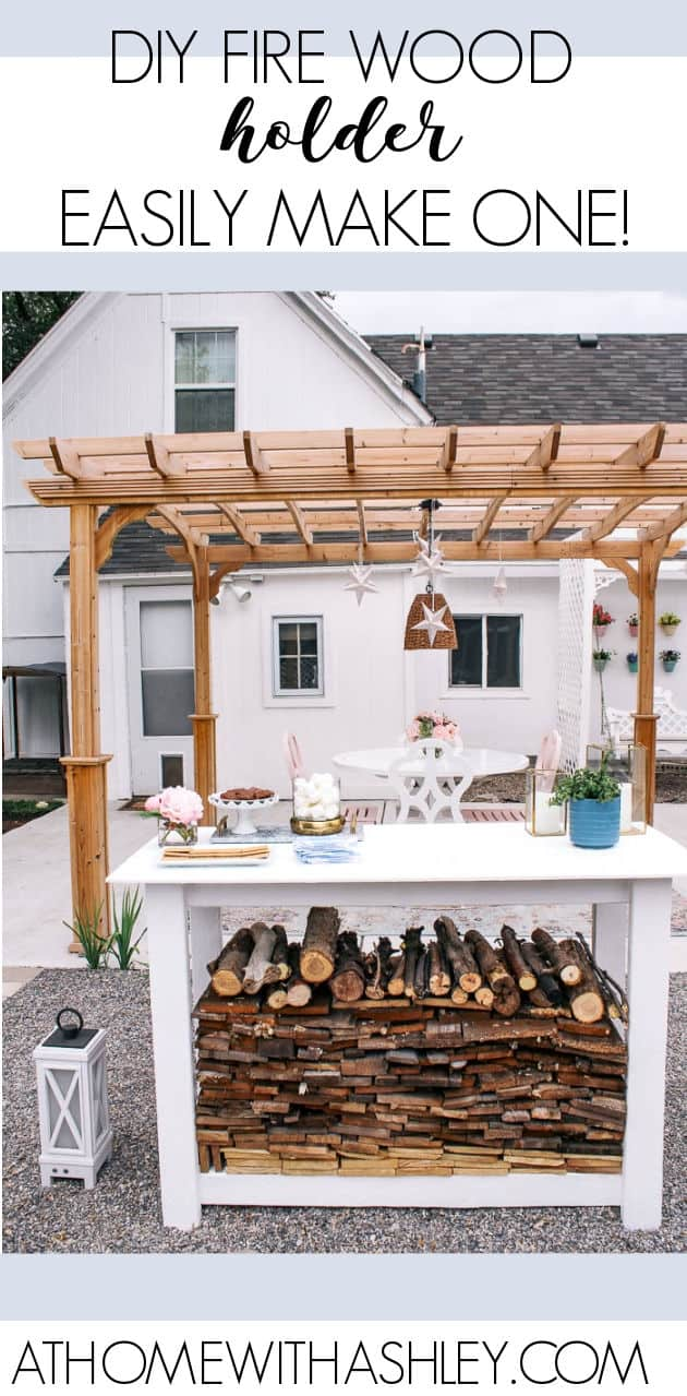 Backyard Fire Pit Reveal and DIY Wood Holder. Ideas for how to make a simple firewood holder. This DIY has a step by step tutorial with free build plans. The outdoor area now has seating areas perfect for bonfires.