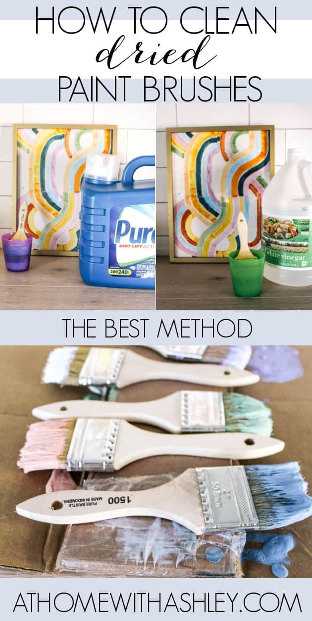 How to Clean Dried Paint Brushes. 5 different methods- vinegar, laundry detergent, dish soap, and alcohol. I'll share the best diy method that is fast. Tips for how to clean after use and an easy trick to make them look new