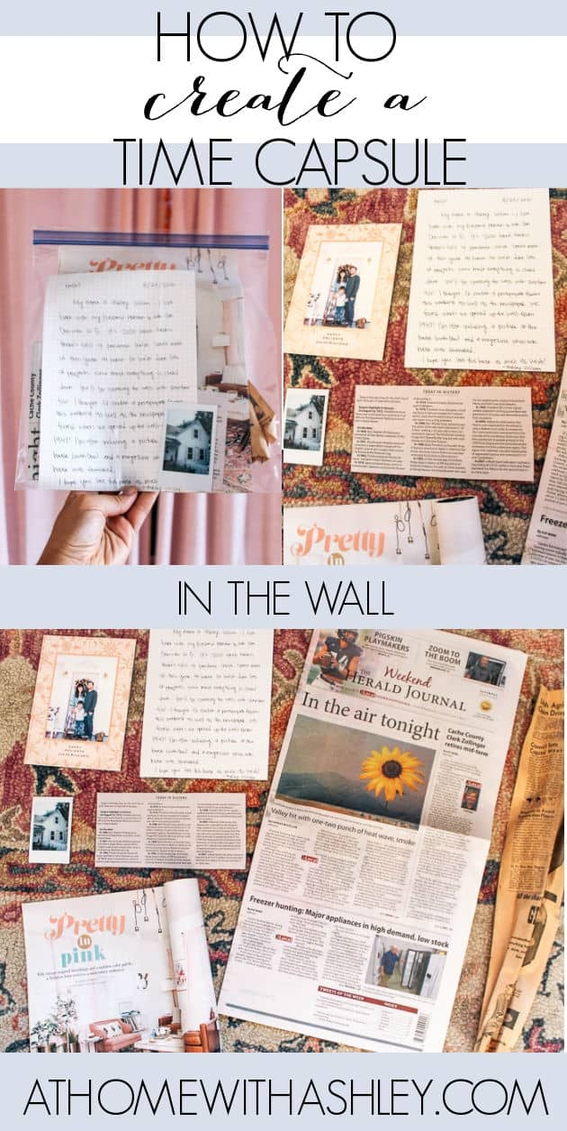 Leaving a Time Capsule in the Wall for Future Home Owners. Ideas for renovating and leaving a note and other momentos and pictures for the future family who will one day redecorate and demo the walls