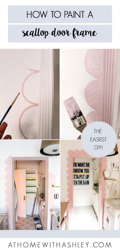 how to paint a scalloped door frame. This tutorial will also show how to paint scallops on the wall without a stencil. DIY scallop doorway trim. Click through to see how to add this great trend to your home!