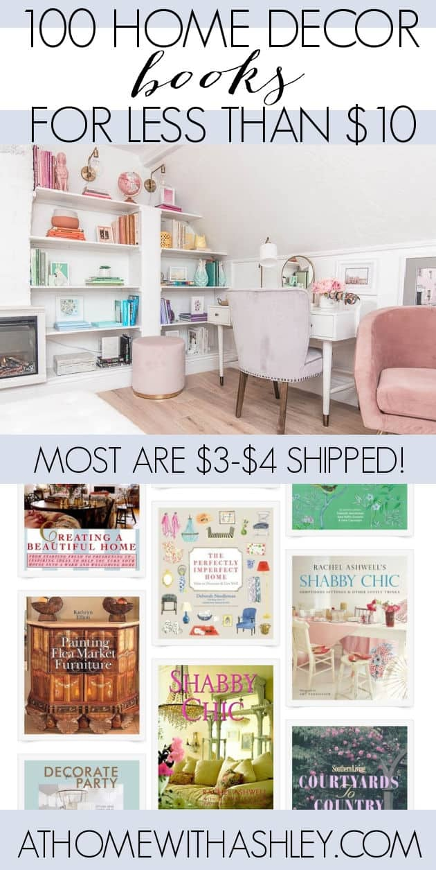 100 Home Decor Books for less than $10. Beatiful interior design books to reference and to read and buy if you're on a budget. Reading lovers, if you want lots of books for that pretty rainbow bookshelf aesthetic with great cover design, click through for this giant round up!