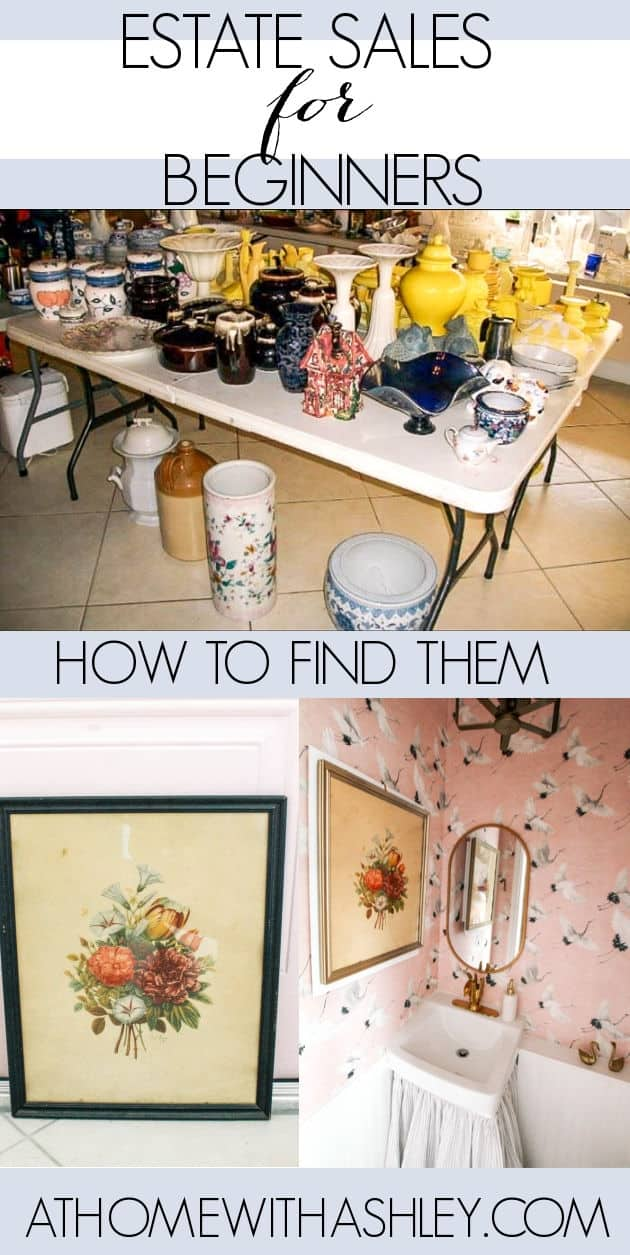 Estate sales for beginners. Tips for how to find one near me. If you love shopping vintage or second hand, you have to try this version of treasuure hunting! What to bring, how to pay, and how to find local deals. Click through to read!