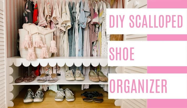 DIY shoe organizer with scalloped trim. A cute place in a closet even if its a small space. This is an easy project with a step by step tutorial. A simple way to organize shoes!