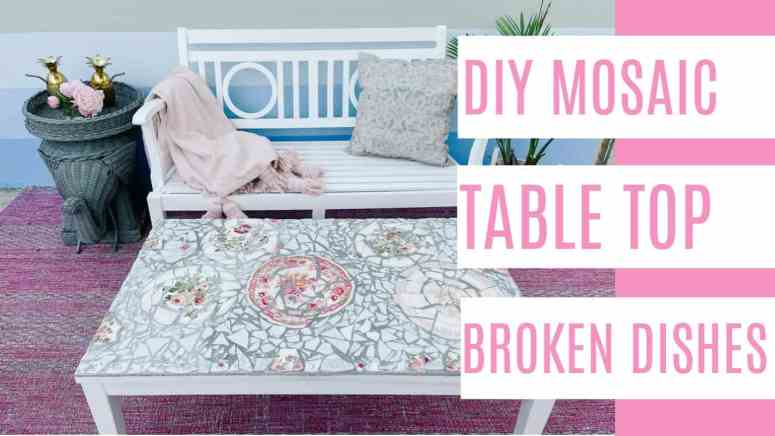 DIY Mosaic Table Top with Broken Dishes. Design ideas for an outdoor project. Includes a step by step tutorial with video. This is a fun garden craft for vintage China that's been thrifted