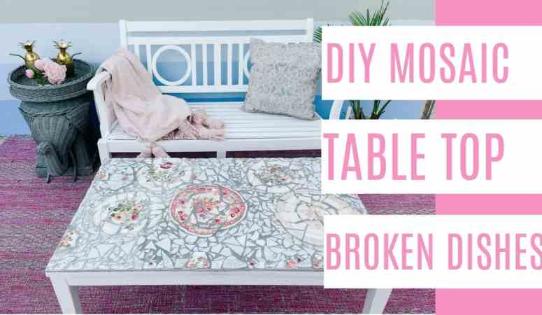 DIY Mosaic Table Top with Broken Dishes