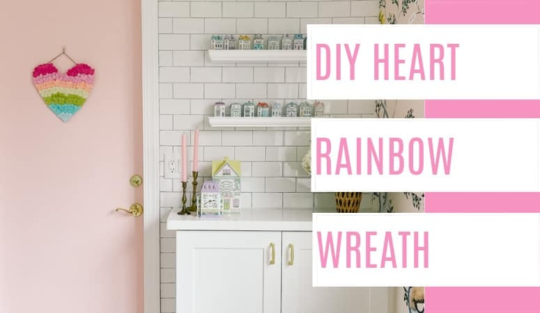 DIY rainbow heart wreath. Ideas for front door decorations for Valentine's day. An easy craft with a full tutorial to celebrate the day of love!