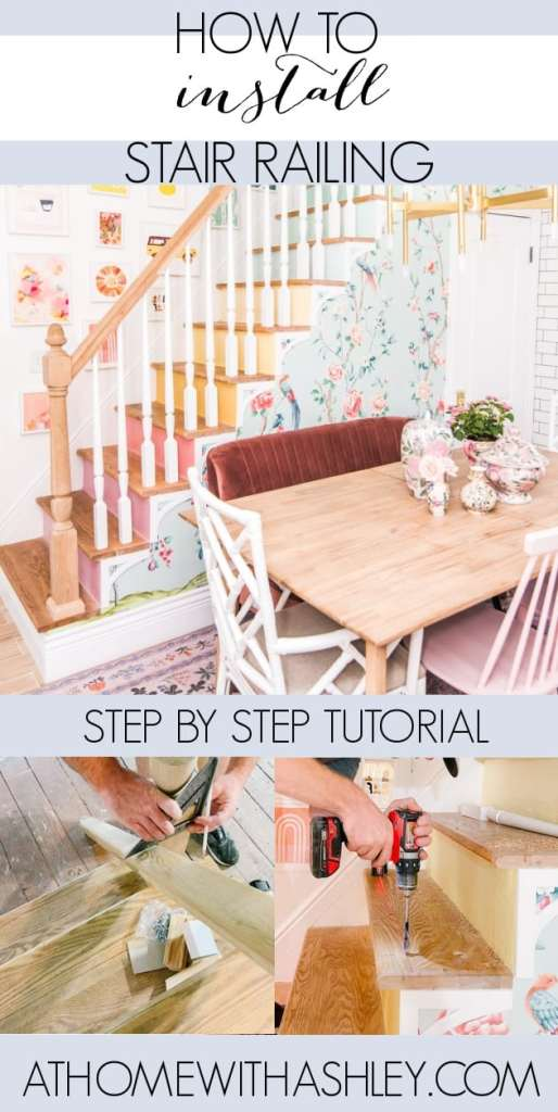 how to install stair railing and spindals on stairs the DIY way. A step by step tutorial of how to attach a wooden newel post, hand rail, and balusters to the wall to replace old ones or create new open stairs like we did. What to use and how to put it in.