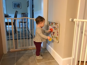 DIY magnet board play area for toddlers