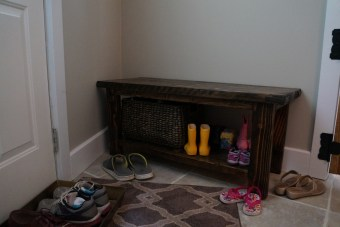 Entryway bench by back door