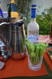 The premium brand vodka Gray Goose is my choice for Bloody Marys.