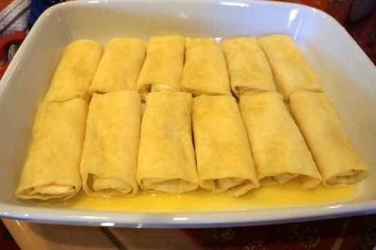 Place frozen blintzes in pan, seam side down.