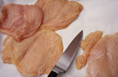 Allow ½ of a whole boneless skinless chicken breast per person.