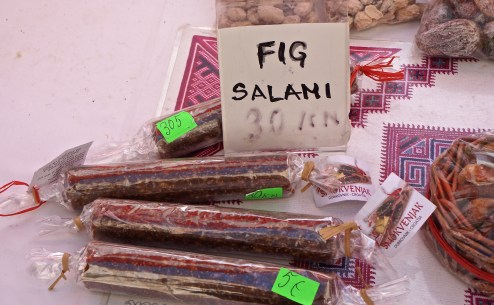 Fig salami and cakes are a common treat in Dalmatia.