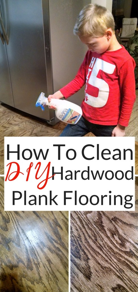 Cleaning DIY Wide Plank Hardwood Floors In the Kitchen. Cleaning hardwood floors requires special care. I wouldn't use just any project on the DIY Wide Plank hardwood we just installed in our Kitchen. I wouldn't want to ruin the dark distressed look we carefully created. Cleaning hardwood floors is easy with this!