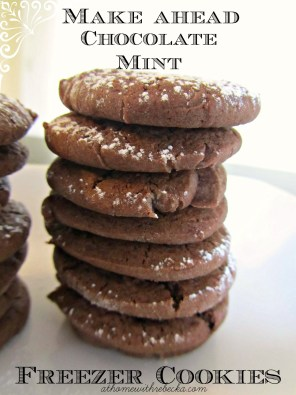 This easy make ahead freezer cookies recipe for chocolate mint cookies is the perfect addition to a holiday cookie platter. Great for cookie exchanges, too!