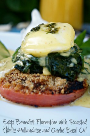 Eggs Benedict Florentine with Roasted Garlic Hollandaise #GilroyGarlicFestival2016