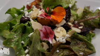 Grilled Beet Salad with Creamy Goat Cheese, Almonds and Edible Flowers