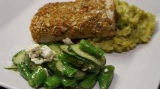 The meal with Aspargus Risotto and Lemony Sugar Snap Peas, Cucumber, Mint & Feta