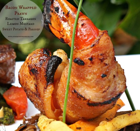 Bacon Wrapped Prawns with Tarragon Lemon Roasted Sweet Potato and Parsnip