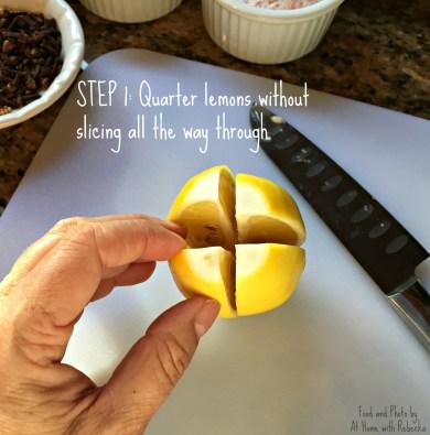 Step 1 in making preserved Meyer lemons