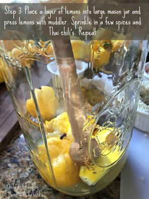 Step 3 in making preserved Meyer lemons