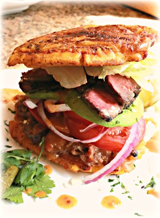 Jibarito (hee-bah-ree-to) with Flatiron Steak, Bacon Jam and Spicy Hot Sauce Sandwich-RECIPE #2