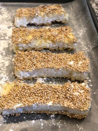 Making Sesame Rice Sticks