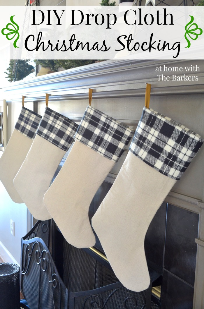 Love the black and white plaid cuffs!  DIY Drop Cloth Christmas Stockings Tutorial | At Home with the Barkers