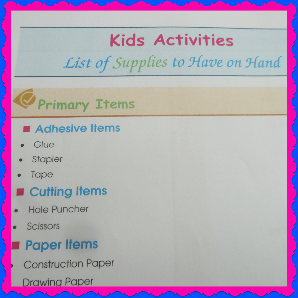 Kids Craft list of supplies to have on hand