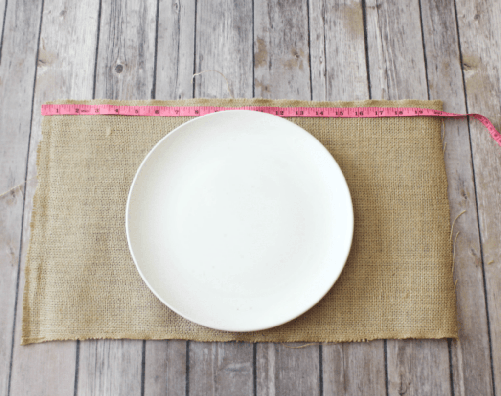 DIY Burlap Placemats - Plate Measurements - At Home With Zan -