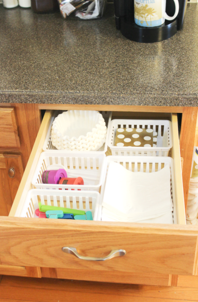 kitchen drawer organization - napkin coffee drawer