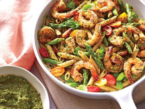 spinach-pesto-pasta-shrimp