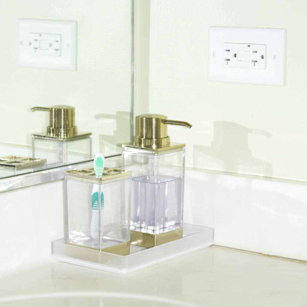 Small Bathroom Refresh - Modern Decor - Soap Dispenser Set - At Home With Zan