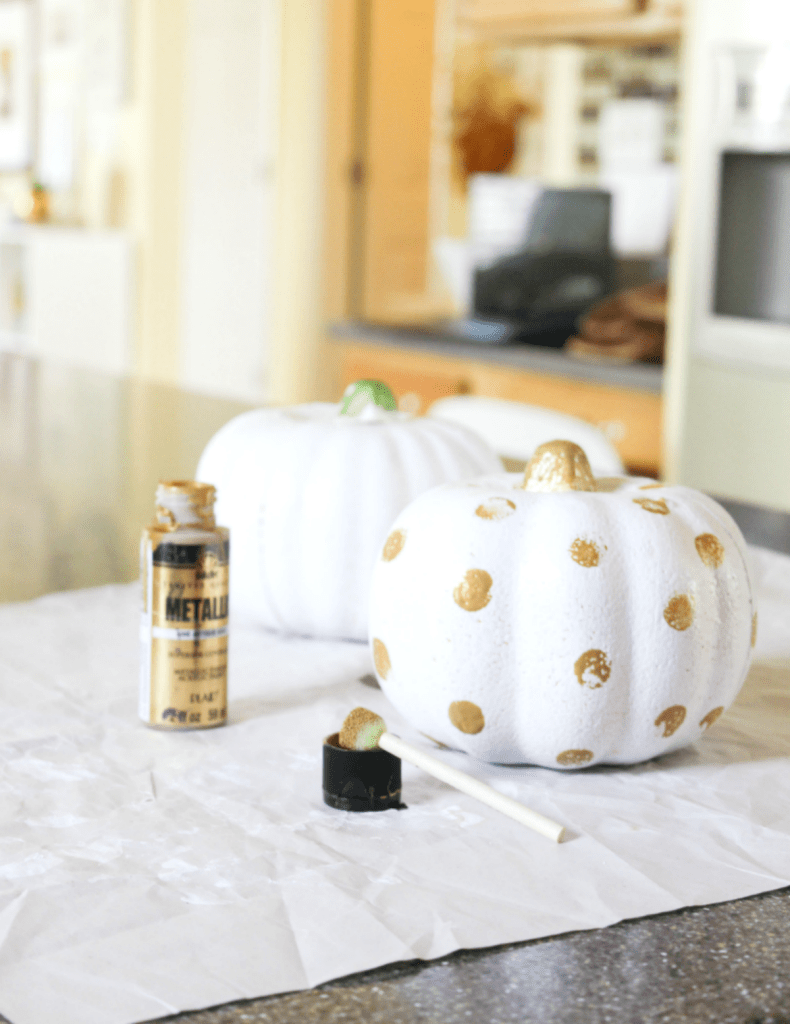 Painting Pumpkins - Gold and White Polka Dot Pumpkins - At Home With Zan -