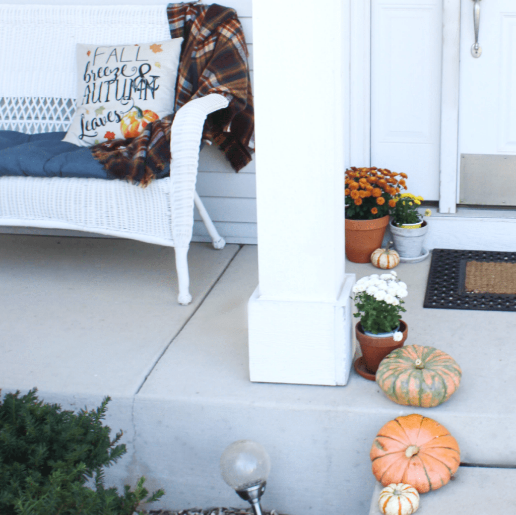 Fall Front Porch - Pumpkins - Mums- Chair - At Home With Zan -