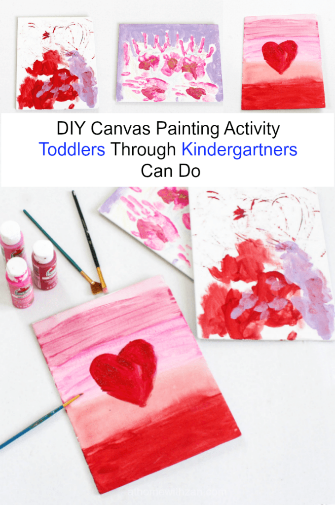DIY Canvas Painting Activity - Toddlers Through Kindergartners Can Do - At Home With Zan