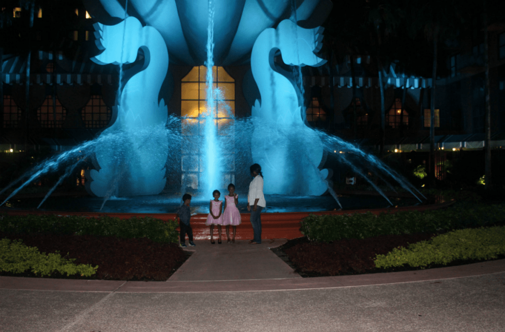 Disney -Dolphin -Resort-Review-Hotel-Colorful Water Fountain-Blue Lights -Travel-Disney Vacation-Orlando-At Home With Zan