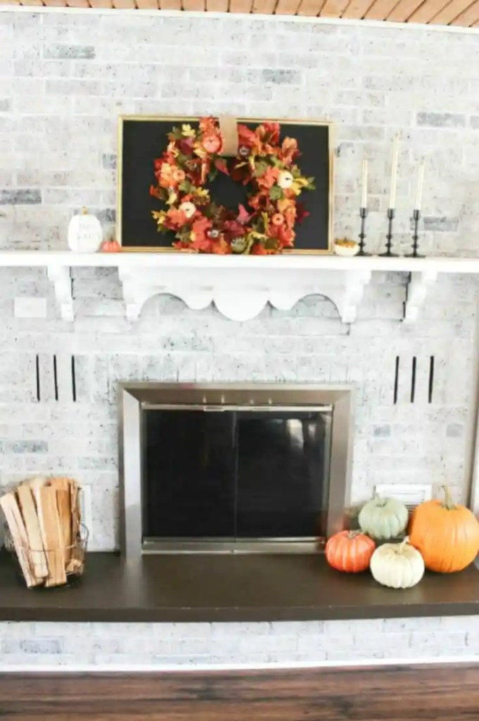 Fall mantle and fireplace decor